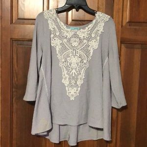 Maurices Purple and White Lace Long Sleeve